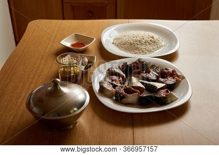 Ingredients For Making A Flour-crusted Mackerel. Food, Healthy Eating Concept