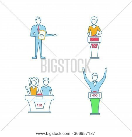 Quiz Show Color Icons Set. Game Show Host, Winner And Loser, Buzzer Systems, Quiz Bowl. Isolated Vec