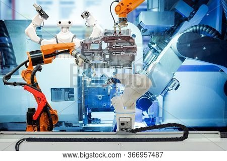 Industrial Robotic Welding, Robot Gripping And Smart Robot Working On Smart Factory, On Machine Blue