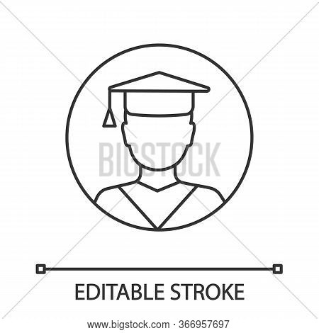 Education Linear Icon. Graduation. Thin Line Illustration. Academic Degree. Person In Academic Cap.