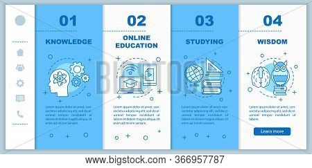 Gaining Knowledge Onboarding Mobile Web Pages Vector Template. Gaining Knowledge. Responsive Smartph