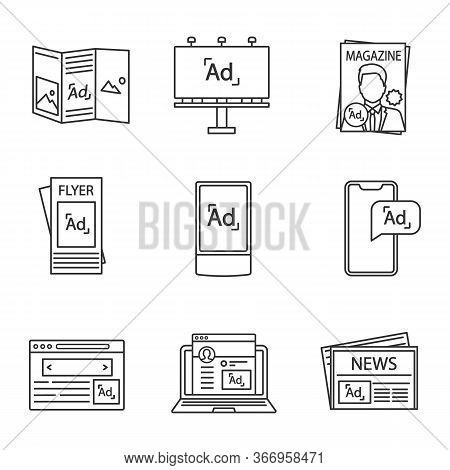 Advertising Channels Linear Icons Set. Brochure, Billboard, Magazine, Brochure, Street Lightbox, Mob