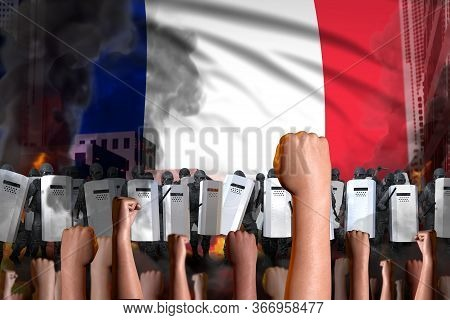 Protest In France - Police Squad Stand Against The Angry Crowd On Flag Background, Revolt Stopping C