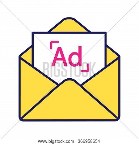 Targeted Email Marketing Color Icon. Mail Advertising. E-mail Announcement. Email Ads Letter. Newsle