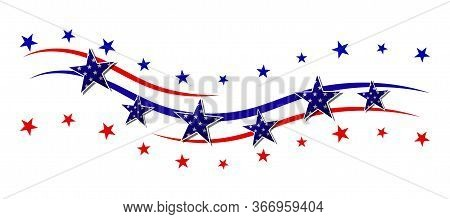 Red And Blue Stripes With Stars. Patriotic Banner For Usa Holidays. Isolated On White Background. Ve