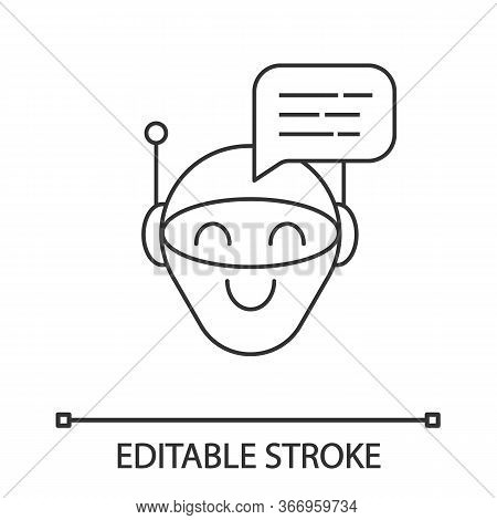 Chatbot Message Linear Icon. Talkbot. Modern Robot. Thin Line Illustration. Android Laughing Chat Bo