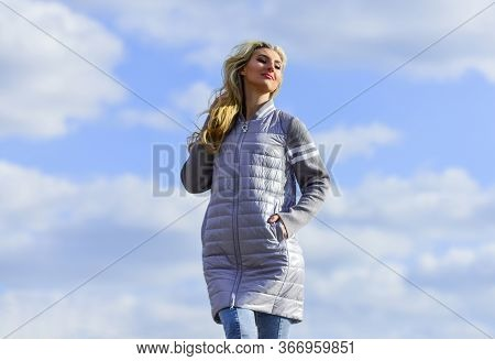 Windy Day. Woman Enjoying Cool Weather. Freshness Of Wind. Matching Style And Class With Luxury And