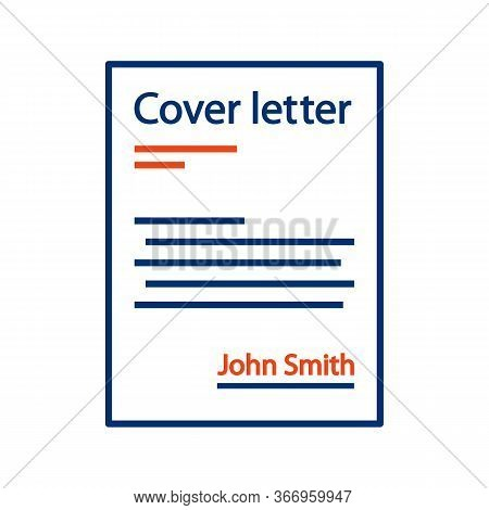 Cover Letter Color Icon. Job Application. Introduction Letter. Document. Isolated Vector Illustratio