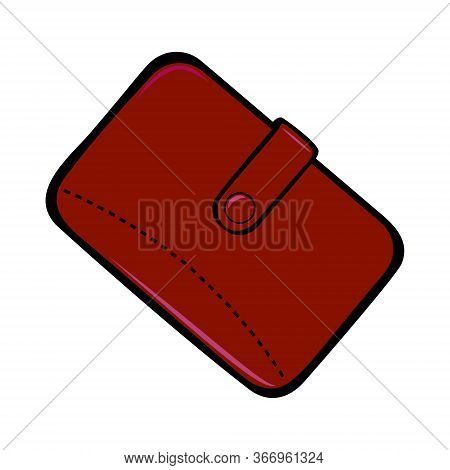 Mens Brown Wallet With A Button Closure. Mens Accessory. Vector Illustration Isolated On White Backg