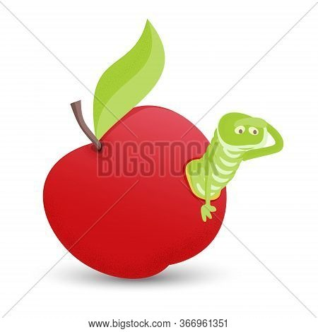 Red Apple With Green Leaves And Cartoon Worm, Isolated On White Background.