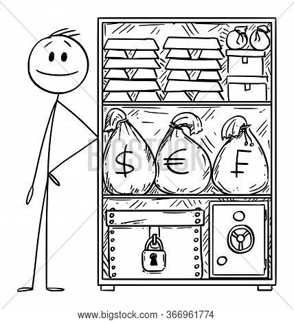 Vector Cartoon Stick Figure Drawing Conceptual Illustration Of Wealthy Or Rich Man With Stockpile Of