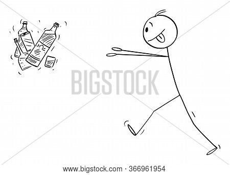 Vector Cartoon Stick Figure Drawing Conceptual Illustration Of Addicted Man Trying To Get Bottles Of
