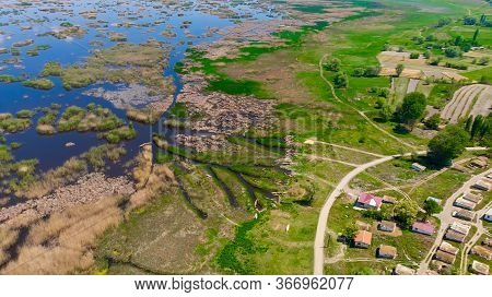 Aerial View To The Village Located Next To The Eber Lake In Afyon Province In Turkey