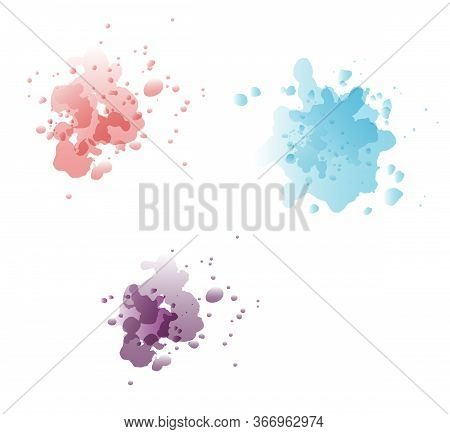 Watercolor Colorful Artistic Splash Blu Violet Red