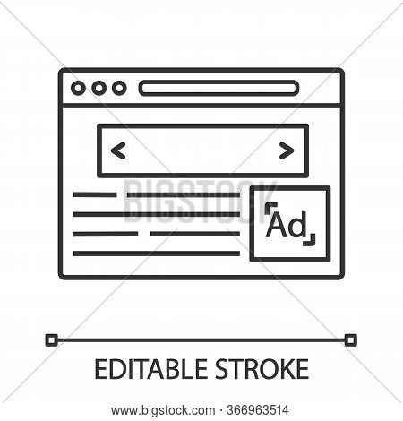 Internet Marketing Linear Icon. Thin Line Illustration. Display Ads. Contextual Advertising. Online