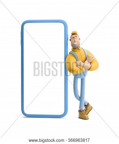 Online Delivery Concept. Deliveryman In Overalls Standing Inside The Phone And  Holds A Box With A P