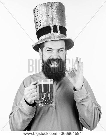 Irish Pub. Green Beer Mug. Drinking Beer Part Celebration. Bar Seasonal Holiday Menu. Alcohol Consum