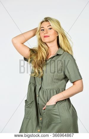 Pretty Woman Has Blond Hair. Fashion And Beauty. Summer Female Collection. Stylish Makeup For Her. S