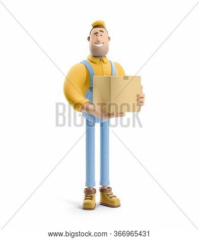 Deliveryman In Overalls Holds A Box With A Parcel In His Hands. 3d Illustration. Cartoon Character.