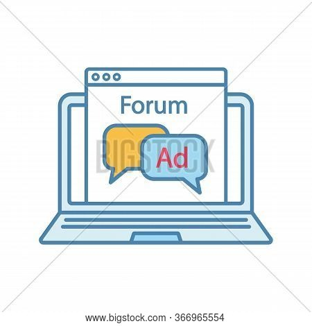 Advertising Forum Color Icon. Internet Marketing. Chatbot Ads. Advertising Notification. Thin Line I