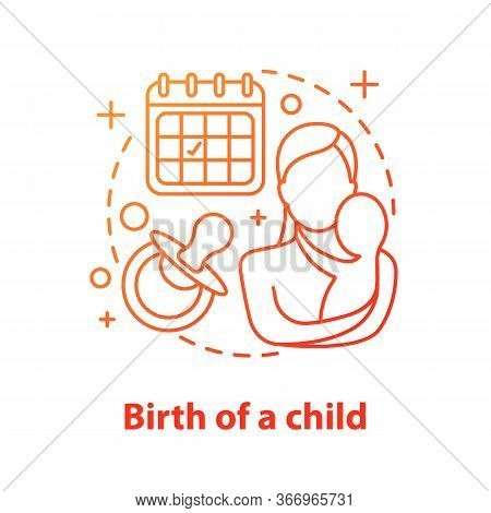 Motherhood Concept Icon. Child Birth. Childcare Idea Thin Line Illustration. Mother With Newborn Bab