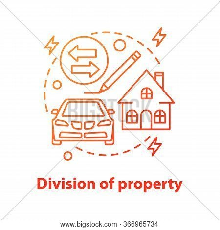 Division Of Property Concept Icon. Real Estate Distribution. Property Buying, Rent Or Sale. Vector I