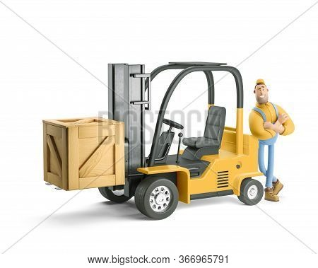 Deliveryman In Overalls Standing Next To A Forklift. 3d Illustration. Cartoon Character.