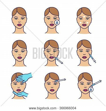 Neurotoxin Injection Color Icon Set. Woman Face, Makeup Removal, Anesthetic Cream, Wrinkles, Lips, C