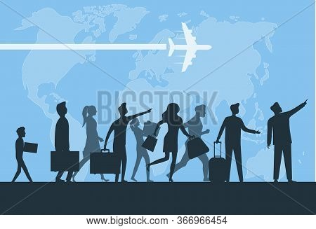 Immigration. Mini People Migrate To Developed Countries. The Concept Of Migration Of People Against
