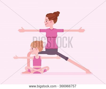Yogi Family, Mother And Daughter In Sport Wear Practicing Yoga Together, Mom With Kid Doing Warrior