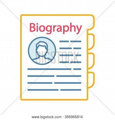 Personnel File Color Icon. Personal Data. Hr Document. Professional Bio. Staff Member Document. Biog
