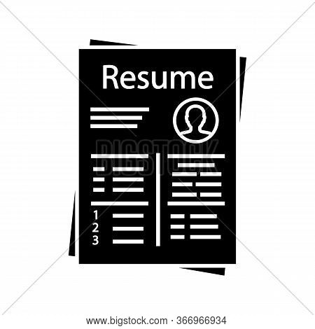 Resume Glyph Icon. Cv. Curriculum Vitae. Personal Information. Silhouette Symbol. Negative Space. Ve