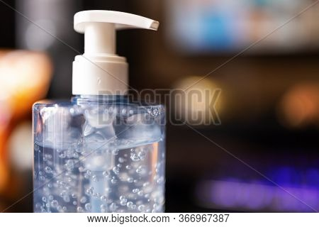 Bottle Of Hand Sanitizer, Antimicrobial Liquid Gel.