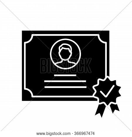 Certificate Glyph Icon. Diploma. Qualification, Degree Certificate. Award. License. Silhouette Symbo