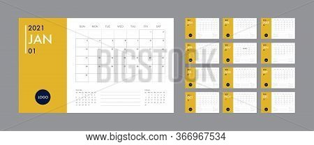 Calendar 2021template Planner Vector Diary In A Minimalist Style