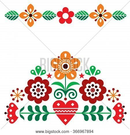 Scandinavian Cute Folk Vector Greeting Card Pattern With Flowers, Autumn  Floral Design Inspired By