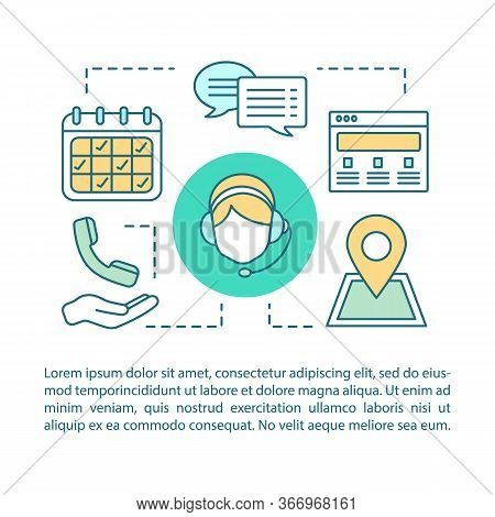 Contact Us Concept Linear Illustration. Information Center. Infocenter. Call Center. Hotline. Articl