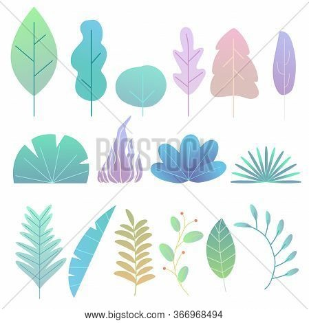Abstract Trendy Style Plants, Leaves And Twigs. Flat Simple Style. Colorful Trees And Bushes, Tropic