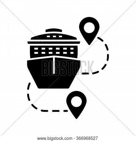 Cruise Routes Glyph Icon. Travel Destinations. Cruise Liner With Map Pinpoints. Journey, Trip Route