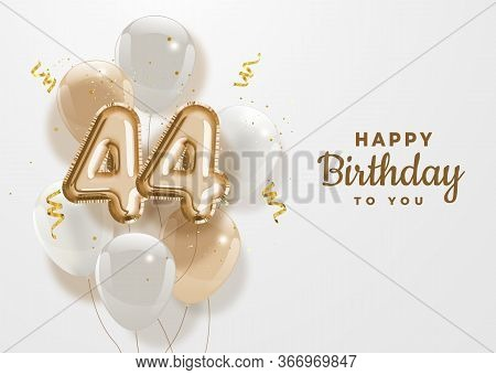 Happy 44th Birthday Gold Foil Balloon Greeting Background. 44 Years Anniversary Logo Template- 44th