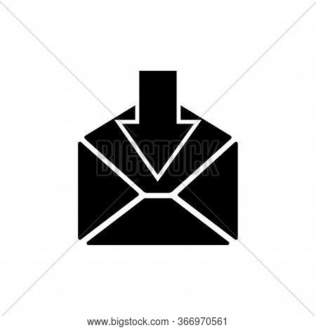 Incoming Mail, Sms Email, Message Letter. Flat Vector Icon Illustration. Simple Black Symbol On Whit