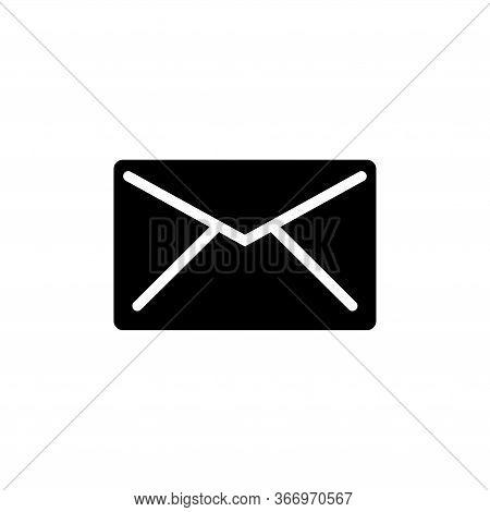 Letter, Envelope Mail, Correspondence. Flat Vector Icon Illustration. Simple Black Symbol On White B