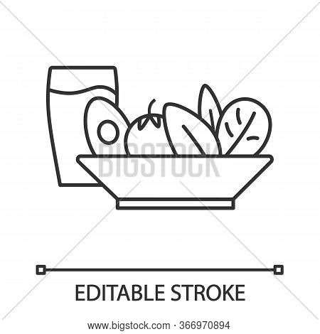 Salad And Cold Drink Linear Icon. Healthy Nutrition. Thin Line Illustration. Salad Bar. Vegetarian R
