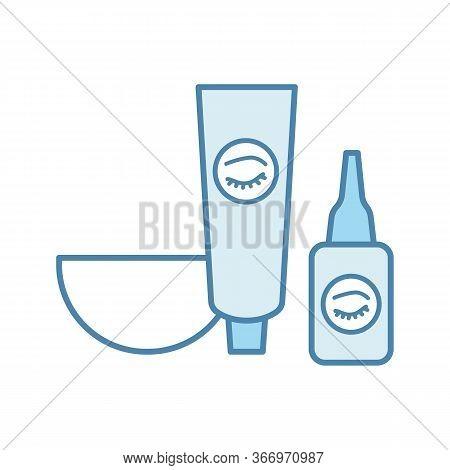 Eyebrows And Eyelash Dye Kit Color Icon. Bowl, Tint And Oxidant Activator. Brows Tinting. Eyebrows M