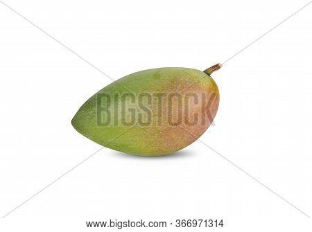 Whole Raw Mango With Stem On White Background