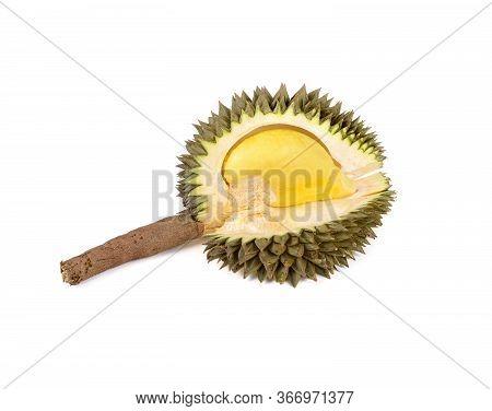 Peeled Ripe Durian Fruit With Stem On White Background