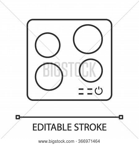 Electric Induction Hob Linear Icon. Cooktop. Thin Line Illustration. Cooking Panel, Surface. Inducti