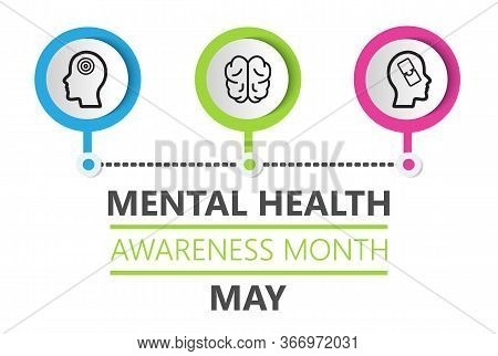 Mental Health Awareness Month Is Celebrated In Usa In May. Professional Psychology Consultation Illu