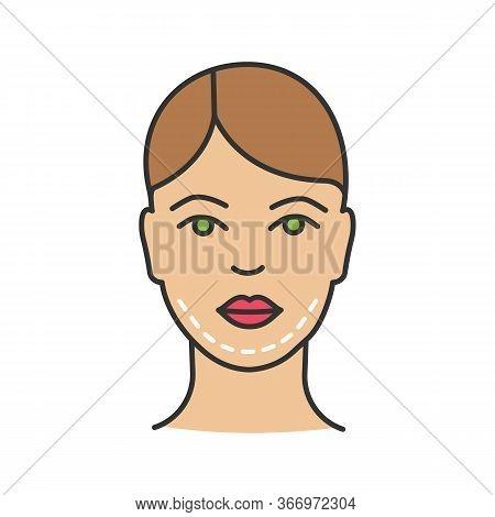 Double Chin Surgery Color Icon. Plastic Surgery. Double Chin Removal. Facial Rejuvenation. Genioplas