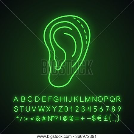 Ear Plastic Surgery Neon Light Icon. Otoplasty. Ear Reshaping And Reconstruction. Facial Rejuvenatio